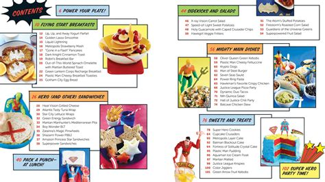 cookbook section titles the official dc super hero cookbook deluxe edition book