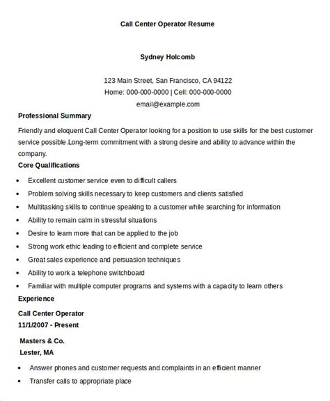 call center resume sles call center resume exle 9 free word pdf documents