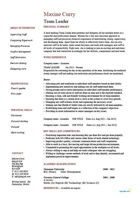 Team Leader Description For Resume team leader resume supervisor cv exle template