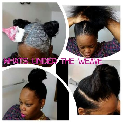 weave for top knot whats under the weave diy kiddie relaxer stretching