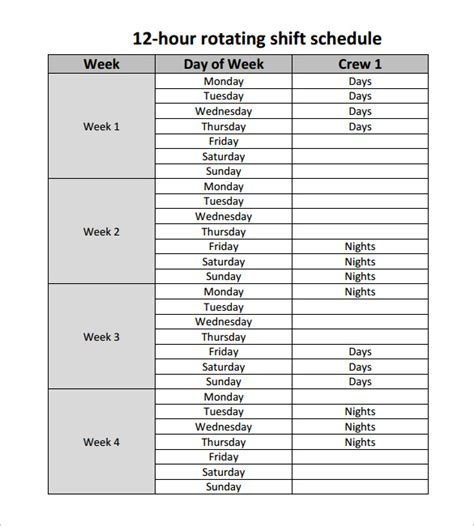 rotating swing shift 12 hour shift schedule template car interior design