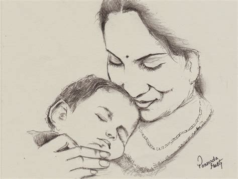 Sketches 4 Daughters by Indian Pencil Sketch Happy S Day Amma
