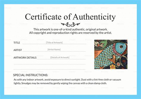 artist certificate of authenticity template artist certificate of artwork authenticity certificate design template in psd word