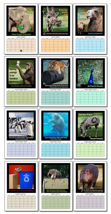 Calendar Photo Themes Ideas | ai ac animal themed 12 month calendar marketing products