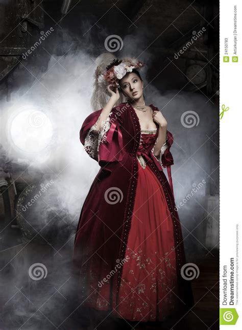 beauty woman wearing old fashioned dress stock image