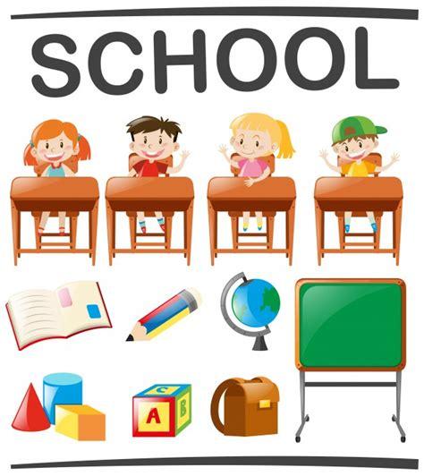 imagenes de objetos escolares crian 231 as estudando e objetos escolares baixar vetores gr 225 tis
