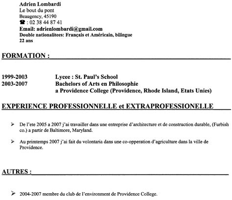 Cv Modèle étudiant by Resume Format Mod 232 Le Cv 233 Tudiant