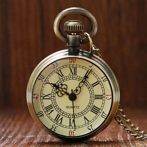 antique bronze roman numerals dial pocket watch necklace