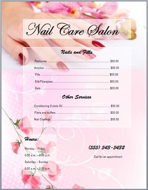 nail services salon price list template printable templates