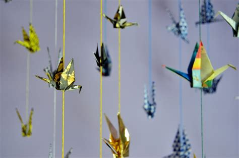 Hanging Origami Cranes - monthly diy hanging origami paper cranes citizen erased