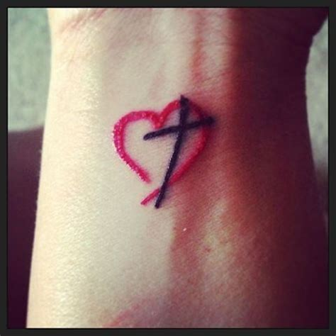 heartbeat tattoo with cross cross and heart tattoos for women tattooic