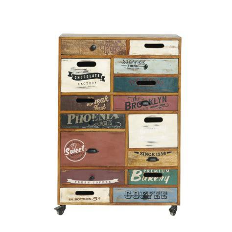 Coffe De Rangement by Cabinet De Rangement 224 Roulettes En Bois Recycl 233 L 82 Cm