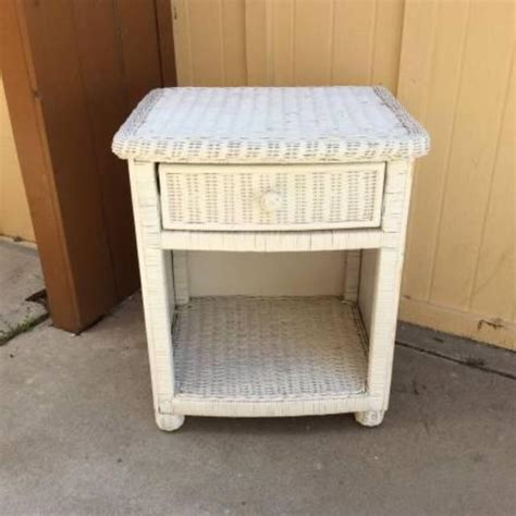 Wicker Nightstand White white wicker nightstand loveseat vintage furniture san diego