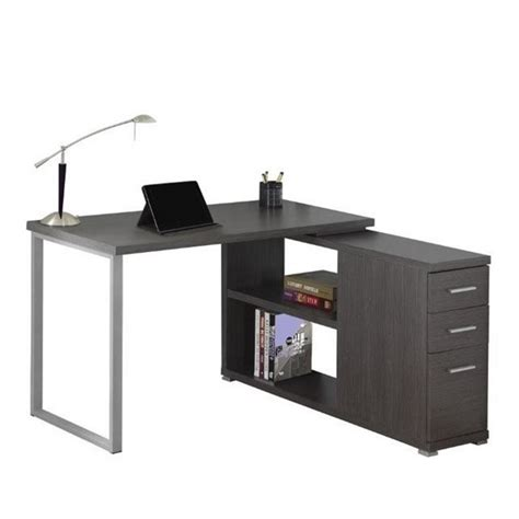bowery hill computer desk bowery hill l shaped computer desk in gray bh 1394980