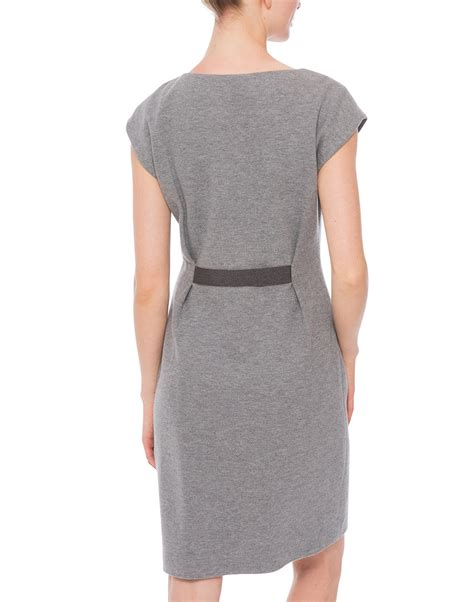 Ws Size 6 27rb Spandex Rayon grey stretch ponte dress with elastic shimmer belt peserico halsbrook