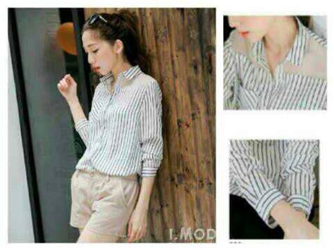 Kemeja Stripe Wanita 1 baju kemeja wanita hem mirror stripe terbaru murah