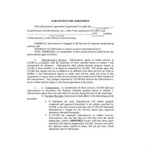 subcontracting agreement template 10 subcontractor agreement templates free sle