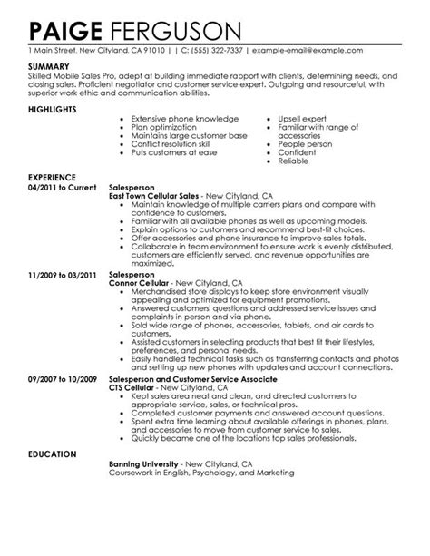 Sle Of Resume Of A Unforgettable Mobile Sales Pro Resume Exles To Stand Out Myperfectresume