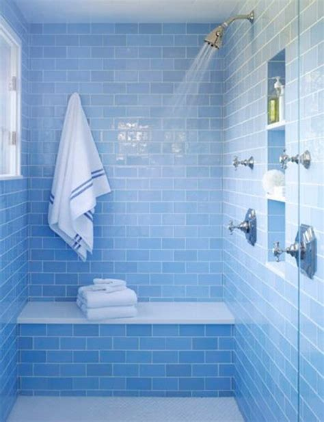 Light Blue Bathroom Tiles 40 blue glass bathroom tile ideas and pictures