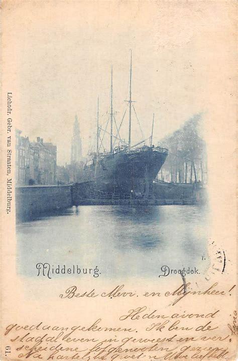 Raket Lining Hc 1900 middelburg 1900 droogdok met schip scheepvaart schepen