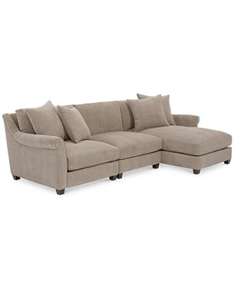 macys chaise westen fabric 3 piece chaise sectional furniture macy s