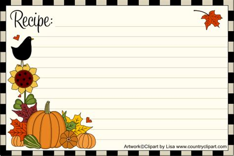 pumpkin recipe cards templates free free printable recipe cards country clipart by
