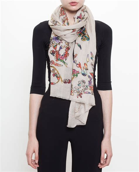 Embroidered Scarf janavi embroidered scarf in lyst