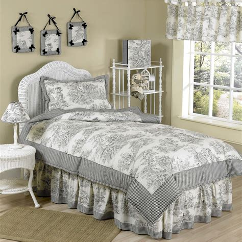 twin size comforter set sweet jojo designs vintage french black toile 4 piece girl