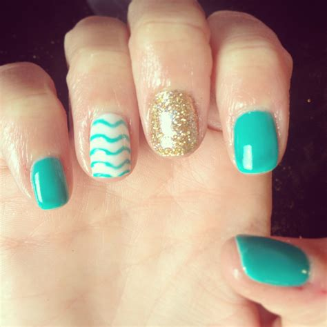 Teal Gel Nail Designs | nails shellac gelish gel nails nail art design teal gold