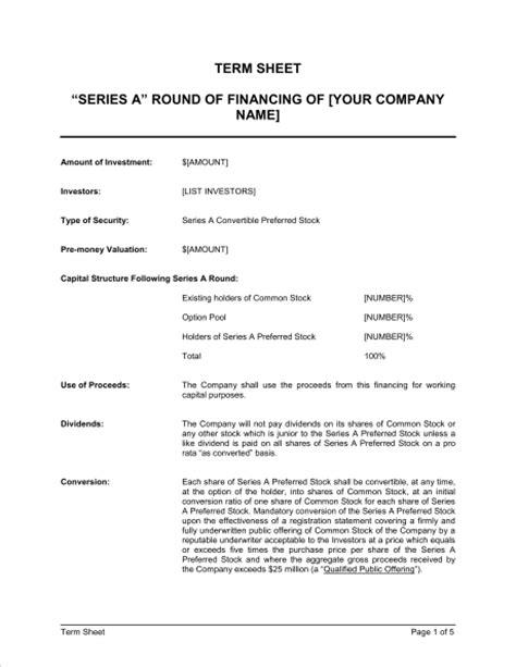 Term Sheet For Series A Round Of Financing Template Sle Form Biztree Com Term Sheet Template