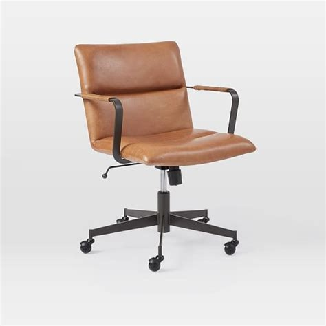 modern leather desk chair cooper mid century leather swivel office chair west elm