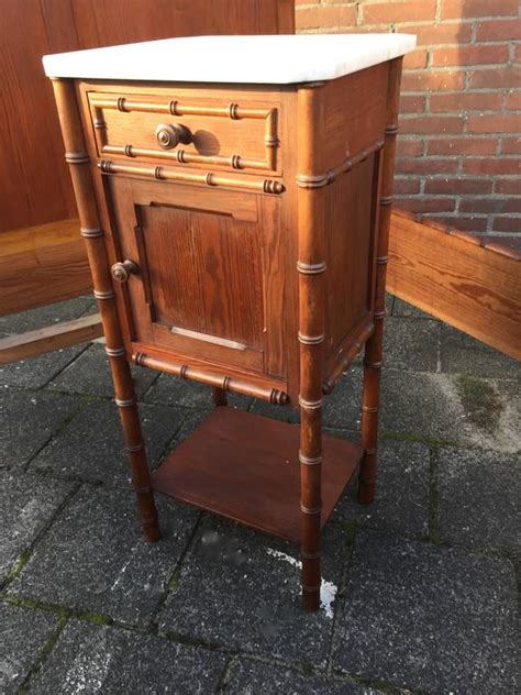 Vintage Bedroom Collection Nightstand In Almond Wheat Antique Wooden Faux Bamboo Set Bed With Nightstand Bedside Table For Sale At 1stdibs