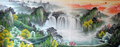 beautiful chinese painting mountain ink lucky strike art
