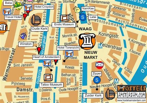 Amsterdam Museums Map Map Of The Oude Kerk Hasj And Hemp Museum The Museum And The Tatoo Museum Hostels