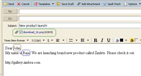 layout of an email in french zimbra org items