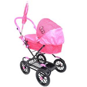 girls kitty pink polka dot kittylicious pram toy doll buggy parasol shopping