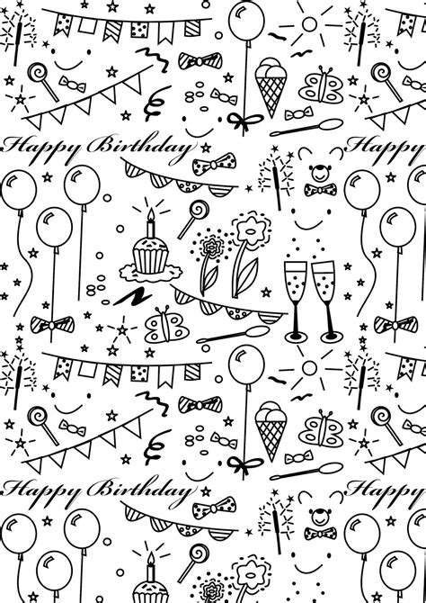 printable wrapping paper happy birthday free printable birthday coloring paper ausdruckbares