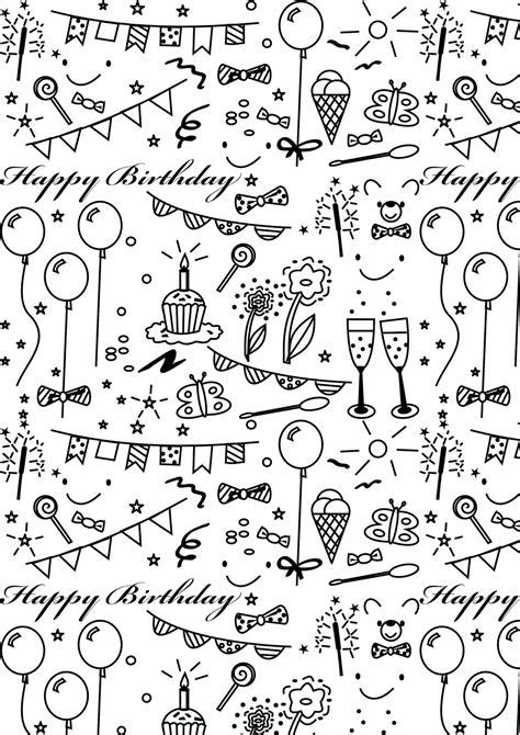 printable images black and white free printable birthday coloring paper ausdruckbares