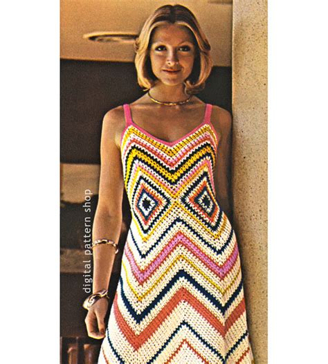 dress pattern etsy womens crochet dress pattern vintage chevron maxi dress