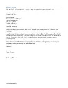 Cover Letter For Waitressing by Waitress Cover Letter Template Free Microsoft Word Templates