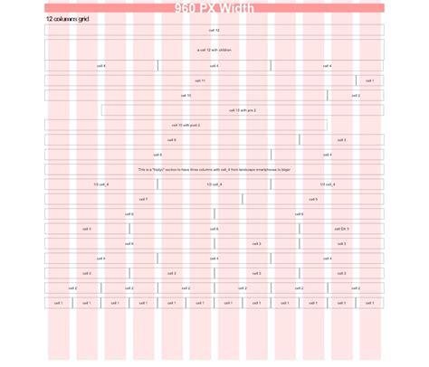 Grid Layout Column Width | 12 column grid 960 width responsive web design
