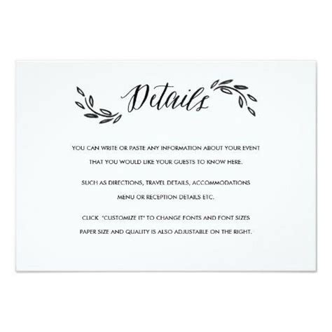 Wedding Invite Insert Templates by Simple Wedding Invitation Additional Information Card