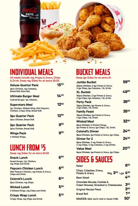 kfc buffet menu kfc menu menu for kfc quay east auckland