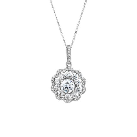 Silver Pendant With Cubic Zirconia P 181 pendant with luxe cubic zirconia in sterling silver