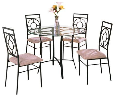 5 metal and glass dining table set with fabric