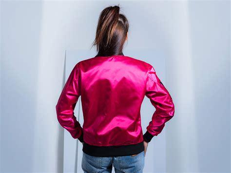 bomber jacket satin fuchsia pink custom jacket