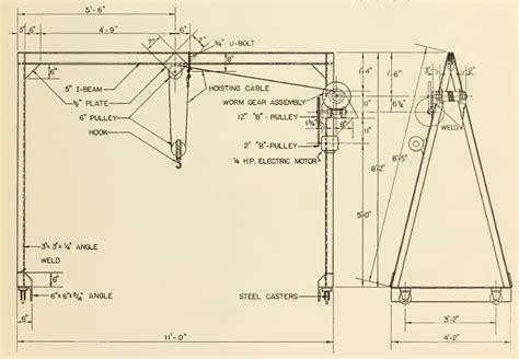 a frame blueprints build an overhead hoist crane