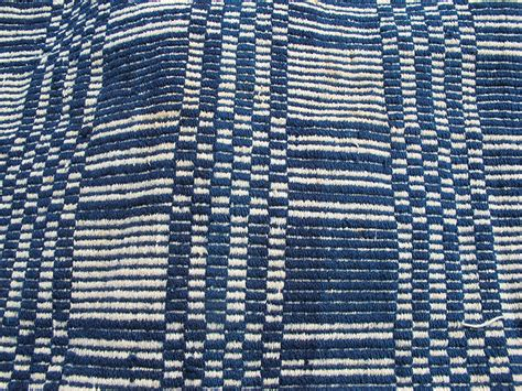 overshot coverlet antique mid 1800s blue white loomed jacquard overshot