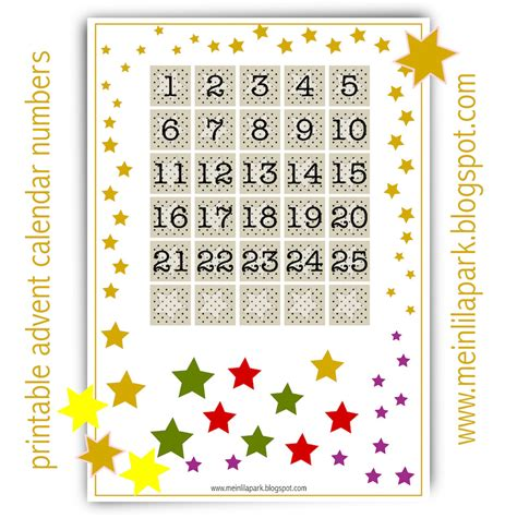 free printable advent calendar template free printable advent calendar numbers ausdruckbarer