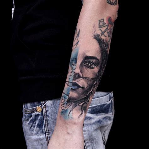 blue and pink portrait tattoo blue trash polka portrait best ideas gallery